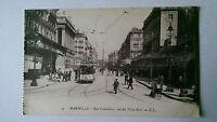 Vintage Marseille France B&W Postcard c1900s  Rue Cannebiere & Tram