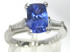 Tanzanite Ring 18K White gold 3 stone CERTIFIED Natural Heirloom AAA+ $5,994