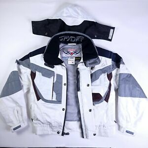 Spyder Dermizax Mens Medium Ski Snow Thinsulate LiteLoft Jacket Hidden Hood EUC