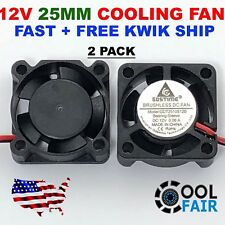 12V 25mm Mini Cooling Fan 2510 25x25x10mm 2-pin DC Small Micro Cooler 2-Pack