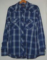 Vintage Wrangler Western Mens Cowboy Shirt Pearl Snap L 16 16.5 Blue White Plaid