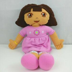 "Jumbo Dora The Explorer 24"" Plush Stuffed Doll  In Pink Dress & Floral Leggings"