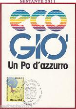 ITALIA MAXIMUM MAXI CARD GIOVANI ECO GIO' UN PO D'AZZURRO 1989 PIACENZA B948