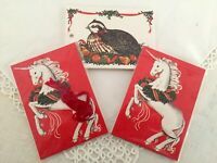 18 Vintage Gordon Fraser Christmas UNICORN & BIRD GIFT TAGS 3 Pkgs. NOS