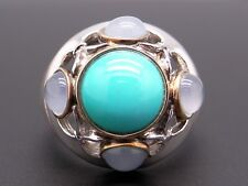 Silver 18k Yellow Gold Turquoise Moonstone Cocktail Cluster Band Ring Size 7