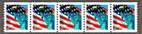 Scott # 3979 USA Strip OF 5 PNC5 # S1111, STATUE OF LIBERTY & Flag Retail $8.75