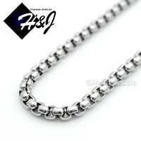 """16-30""""MEN WOMEN Stainless Steel 2mm Silver Smooth Box Link Chain Necklace"""