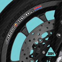 SKU3004 - 10 X Repsol Honda HRC Motorcycle Wheel Rim Stickers Decals Tranfers