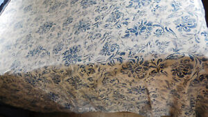 Blue & White Bluff Point F/Q Duvet Cover & 2 Shams-Reversible- 100% Cotton