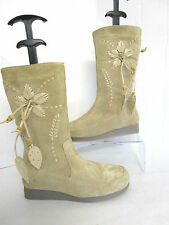 Wedge Suede Floral Boots for Women