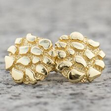 Hop Round 14k Gold Nugget Earrings Mens Top Quality 925 Sterling Silver Hip