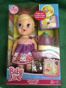 Hasbro Baby Alive Teacup Surprise Baby with Accessories Drinks and Wets Blonde
