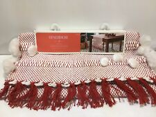 Christmas Opal House Tassle Trim Red & White Extended Length Table Runner 18 x90