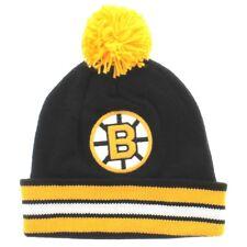 BOSTON BRUINS KNIT BEANIE HAT TOQUE BLACK CUFFED MITCHELL AND NESS W/POM NWT