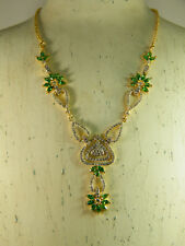 NECKLACE:  NEW DELICATE NATURAL GREEN EMERALD MARQUISE WH TOPAZ 24K GOLD FILLED