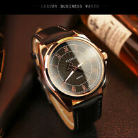 Men's Genuine Leather Stainless Steel Military Sport Quartz Watch Waterproof
