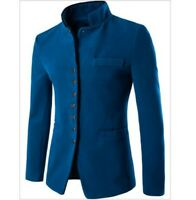 Men's Casual Stand collar Blazers Coat Slim Fit Jacket Long sleeve Casual Button