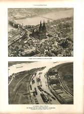 Allemagne port sur le Rhin Cathédrale de Cologne Kölner Dom ILLUSTRATION 1926