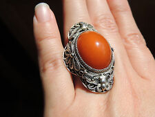 LARGE Vintage Chinese Natural Amber Cabochon Ring Size 7.5