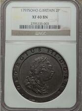 G.B./U.K./ENGLAND GEORGE III 1797 TWO PENCE COPPER COIN, CERTIFIED NGC XF-40-BN