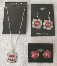 Ohio State University Official Collegiate Jewelry Lot of 3-Necklace & 2 Earrings