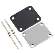 Chrome Guitar Neck Plate With One Rubbermat Stratocaster Telecaster SH