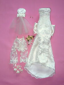 """Handmade Ivory & Lace Bride 16"""" Fashion Doll OUTFIT - Tyler Wentworth"""