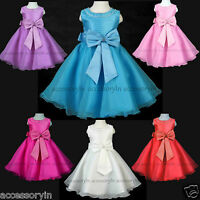 Girls Party Bridesmaid Princess Prom Wedding Christening Stone Bow Flower Dress