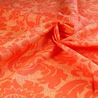 Tessuto Per Tappezzeria Cotone Fantasia Damasco Fiori Arancione Divano Cucina