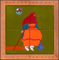 John Nieto Original Painting Native American Portrait Glazed Ceramic Signed Art