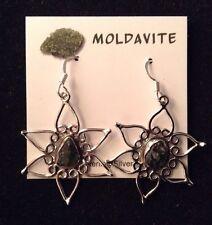 "MOLDAVITE Earrings ""B"" TRANSFORMATION Green HEART CHAKRA Healing Crystal YOGA"