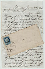 RARE - Fascinating Letter & Cover - Sheep Shearing Wager Bet 1861 Geneseo NY ALS