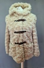 SIZE 18 Ladies RED HERRING cream soft fluffy faux fur hooded winter coat (G154)