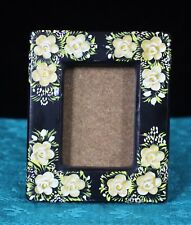 Small Black & Cream Lacquer Picture Frame Horizontal or Vertical Mexico Folk Art