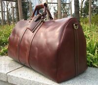 New Larger Genuine LEATHER Mens Womens DUFFLE TRAVEL BAG LUGGAGE Carry-On