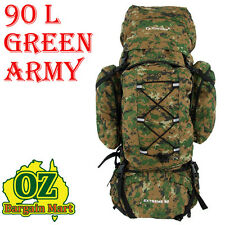 CAMPING BACKPACK 90L HIKING MOUNTAIN SPORTS RUCKSACK LARGE GREEN ARMY STYLE