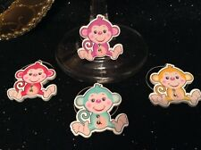 Wine Glass Charm - Set of 4 - Monkey (Wooden Charms)