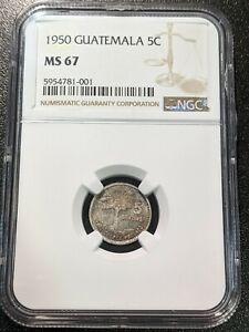 1950 MS67 Guatemala Silver 5 Centavos KM 257.1 TOP POP 3/0 NGC Kapok Tree