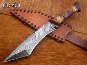 """11"""" Damascus Tanto Hunting Knife, Wood scale With Engraved Brass, Cow sheath"""