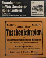 Horaires de Poche Train Württenberg Hohenzollern 1919-1920 (KB985)