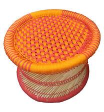 "Ecofurniture Handmade 10"" Bamboo Stool/Muddha Outdoor/Indoor Color- Orange Red"