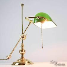 Lampe de Banquier Bureau Or 24K Echt-Messing Vert Art Nouveau Tirette E27