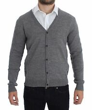 NEW $360 GALLIANO Gray Wool Button Down Logo Cardigan Sweater Pullover Top XXL