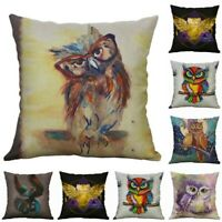 Owl Animal Cushion Cover Pillow Case Home Decor Sofa Printing Cotton Linen