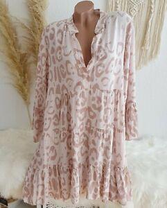 Oversize Blusenkleid Tunika Kleid Blogger Mini Animal Leo Rosa 38 40 42