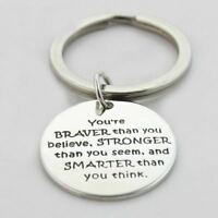 *UK* 925 SILVER PLT 'YOU ARE BRAVER STRONGER SMARTER THAN YOU BELIEVE' KEYRING