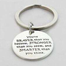 925 Silver Plt 'you Are Braver Stronger Smarter Than You Believe' Keyring a