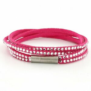Womens Pink Leather Beaded Bracelet, Girls Layer Stack Studded Wristband