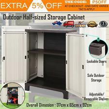 Outdoor Storage Cabinet Lockable Cupboard Spacious Garden Garage Adjustable L1