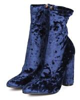New Women Cape Robbin Paw26 Velvet Mid-Calf Pointy Toe Circular Chunky Heel Boot